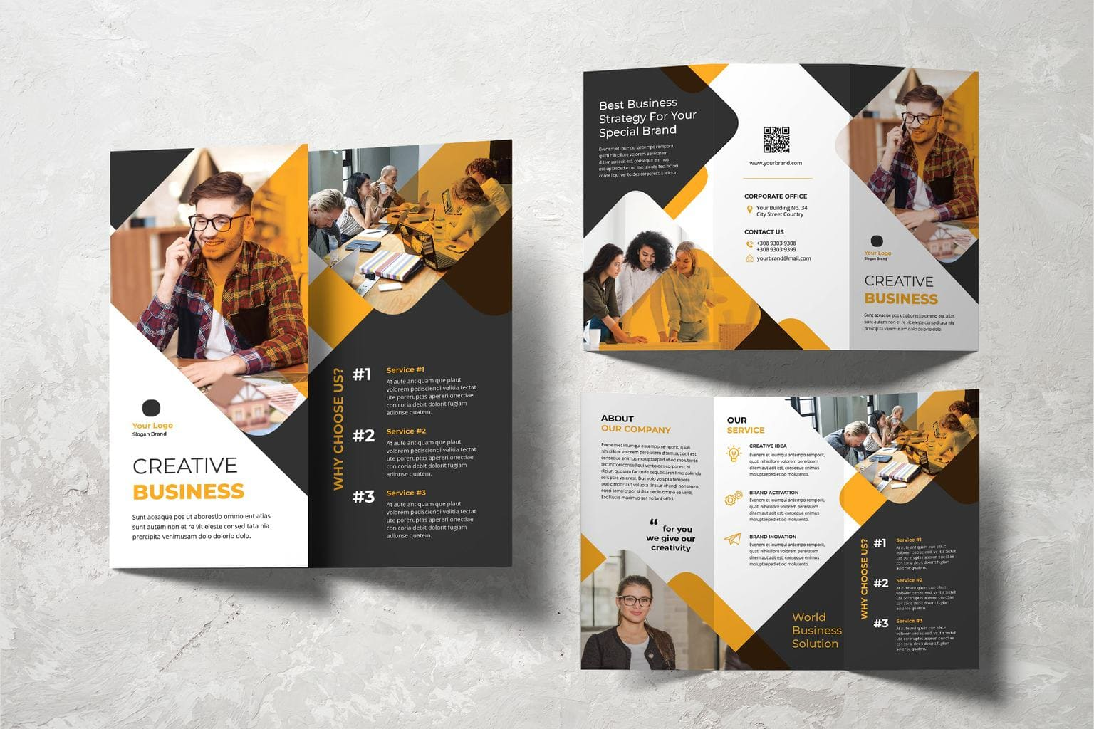 trifold brochure business strategy for brand