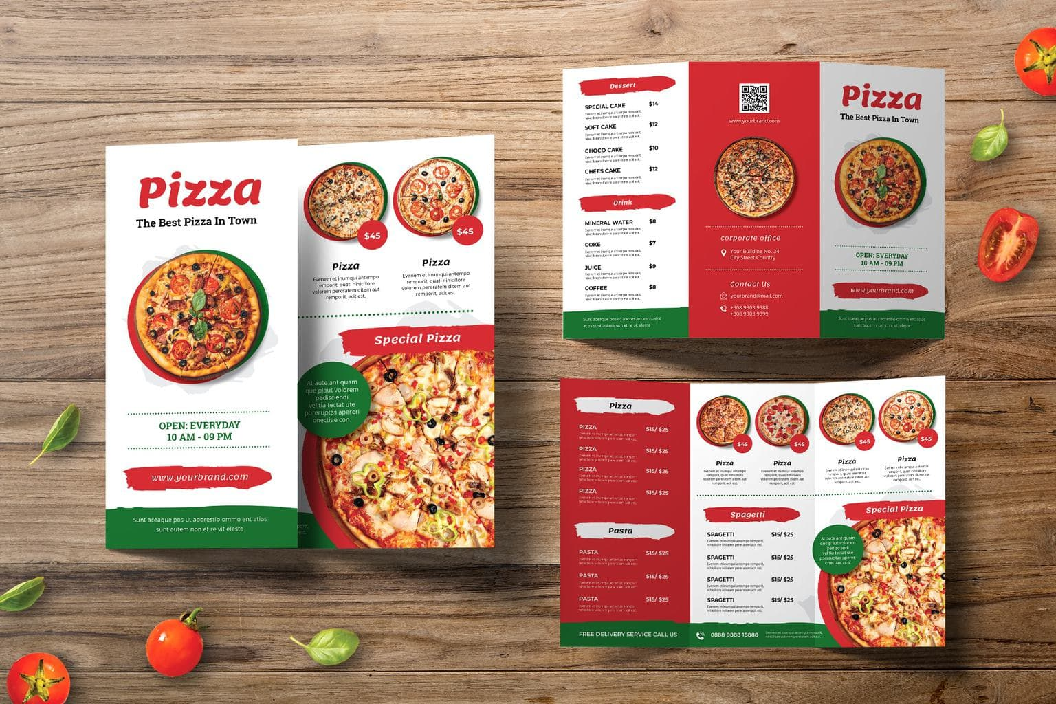 trifold brochure pizza pasta special