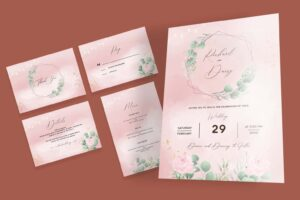 wedding invitation abstract elegant flowering