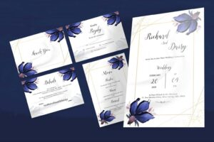 wedding invitation elegant blue flower