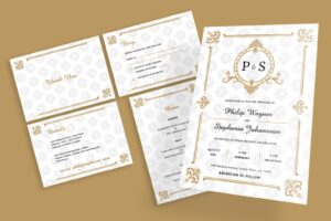 wedding invitation gold ornament motif