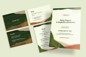 wedding invitation natural frame design