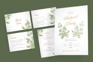 wedding invitation simple abstract white motif