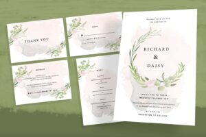 wedding invitation watercolor flower design 1